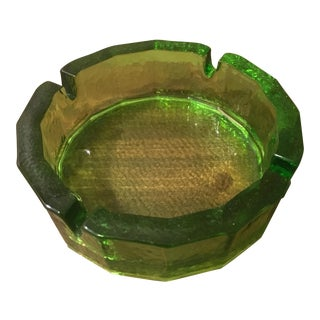 Mid-Century Green Glass Ashtray