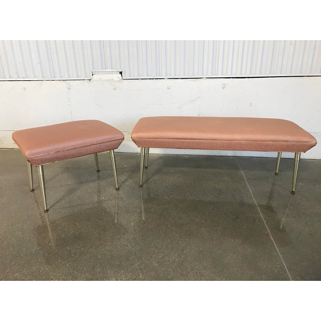 Mid-Century Modern Hollywood Regency Pink & Gold Bench - Image 7 of 7