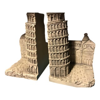 Leaning Tower of Pisa Stone Bookends - A Pair