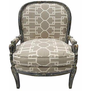 Vintage Quadrille Graphic Gray Armchair