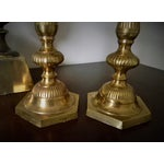 Image of Vintage Tall Ribbed Brass Candlesticks - a Pair
