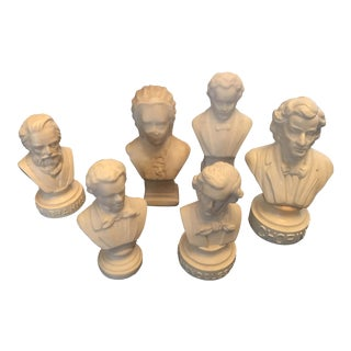 Vintage Classical Music Composers Bust Collection - Set of 6
