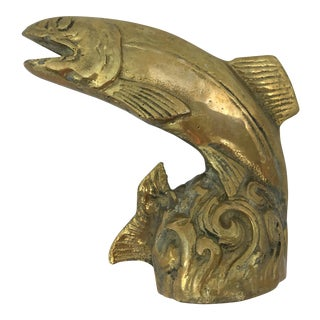 Vintage Brass Leaping Salmon or Trout