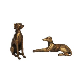 Brass Whippet Figurines - A Pair