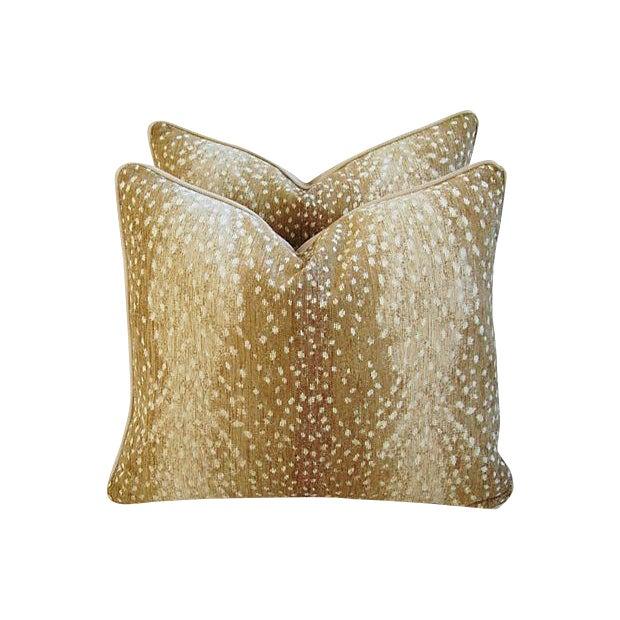 Image of Custom Tailored Antelope Fawn Spot Velvet Feather/Down Pillows- Pair