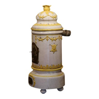 19th Century French White and Yellow Terracotta and Brass Stove