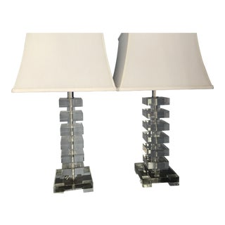 Contemporary Glass Stacked Cube Lamps - A Pair