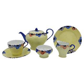 English Bone China Pansy Tea Service- 6 Pieces