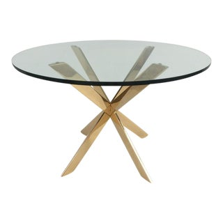 Polished Brass and Glass Side Table By Pace Collection