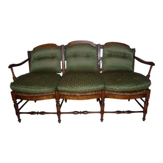 Rush Seat Country French Settee With Cushions