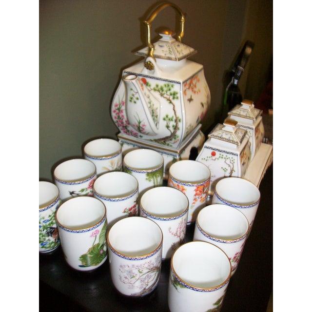 Franklin Mint Japanese Style Porcelain Tea Set - Image 7 of 11