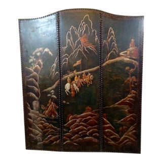 1920's Chinoiserie Green Leather Painted Screen