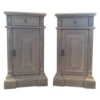 Soft Gray French Provincial Nightstands - A Pair