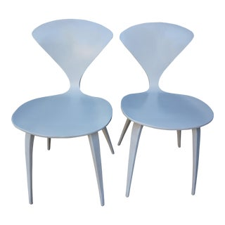 Plycraft White Early Norman Cherner Chairs - a Pair