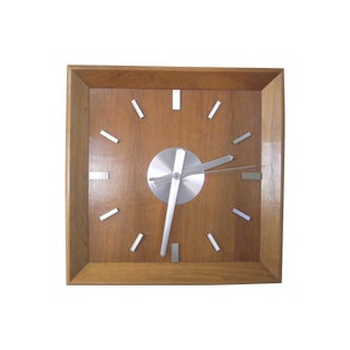 Mid-Century 1950s Classic Walnut Bank Clock