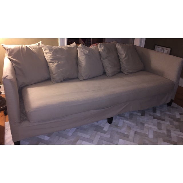 Bernhardt Contemporary Tan Slipcovered Sofa - Image 2 of 5