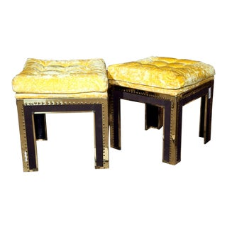 Tufted & Brass Tacked Footstools - A Pair
