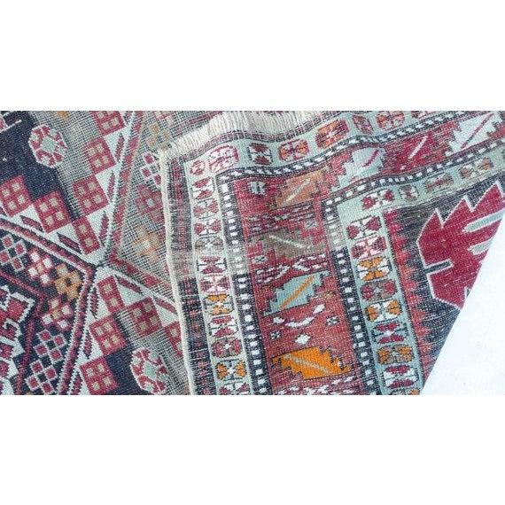Image of Antique Worn Geometric Tribal Rug - 3′6″ × 5′10″