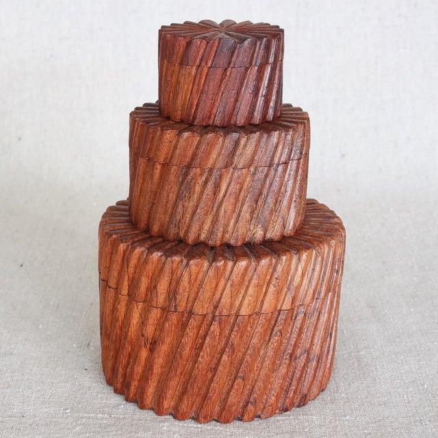 Hand Carved Indian Sheesham Nesting Boxes - 3 - Image 2 of 6