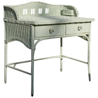 1930s English Seafoam Mint Wicker Desk