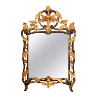 French Regency Antique Mirror of Mahogany and Gilt with Basket of Roses Design
