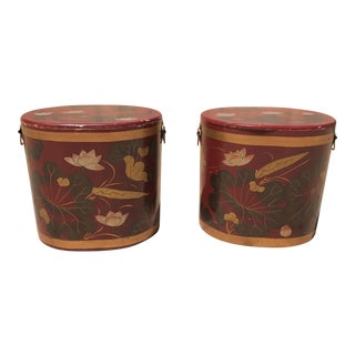 Antique Red Wood Containers - A Pair