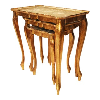 Vintage Italian Florentine Gilted Wood Nesting Tables - Set of 3