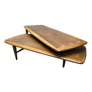 Lane Acclaim Mid-Century Switchblade Coffee Table & 2-Tier Side Table - A Pair