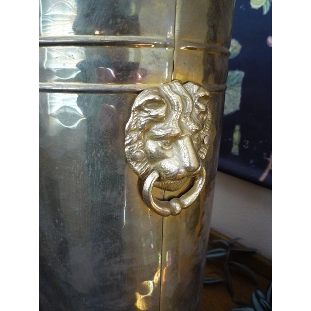 Image of Large Brass Lion Head Wastebasket