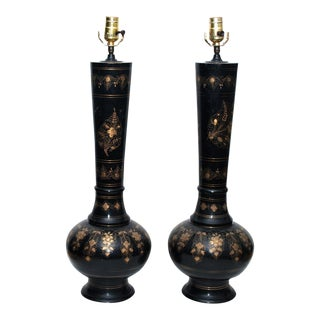 Tall Brass Persian Lamps, 1950 - A Pair
