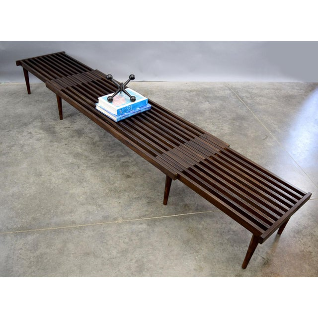 On Hold - John Keal for Brown Saltman Mid-Century Expandable Slat Bench or Table - Image 5 of 10