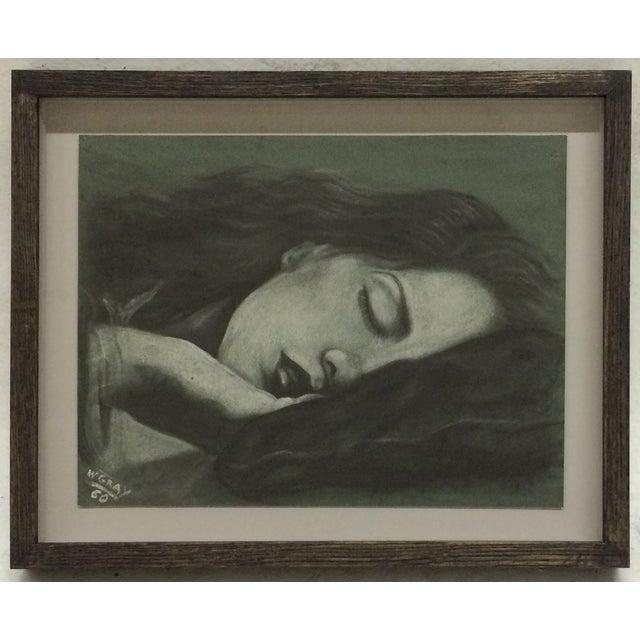 Sleeping Women Pastel Drawing Signed W. Gray - Image 2 of 6