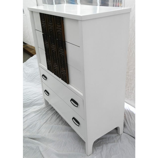 White Lacquered Mid-Century Modern Tall Dresser - Image 3 of 9