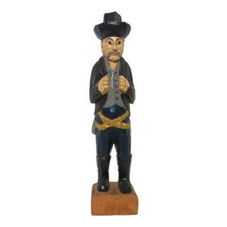Vintage Folk Art Hand Carved Wood Cowboy