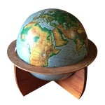 Image of Mid-Century Sculpted Wood Base Globe