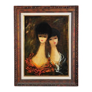 "Charles Levier ""Women Heads"" Oil Painting C.1960s"