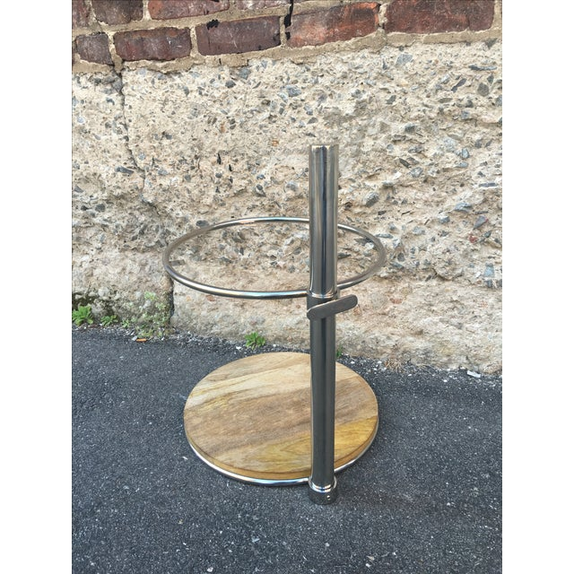 80's Glam Style Chrome Round Side Table - Image 6 of 6
