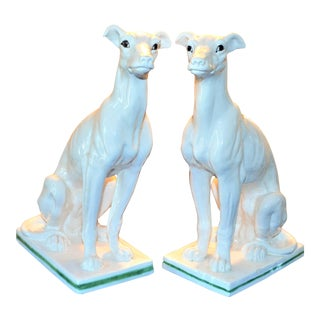 Mid-Century Italian Ceramic Seated Greyhounds - A Pair