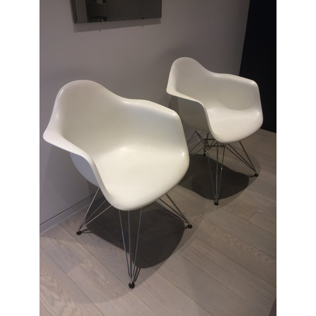 Eames White Molded Armchairs - A Pair - Image 2 of 9
