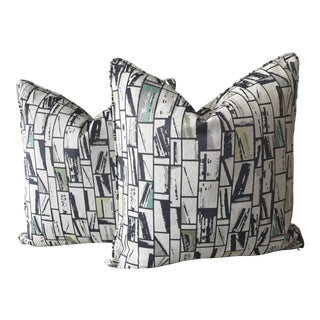 Turquoise & Gray Geometric Print Pillows - A Pair