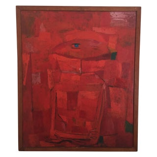 Vintage Original Cubism Abstract Painting Signed