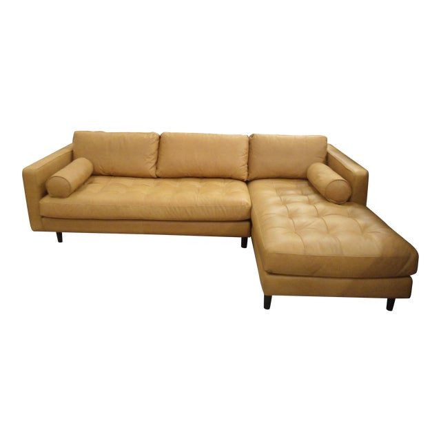 Tan Leather Sectional Sofa, Right Chaise, Tufted Seating - Image 1 of 8