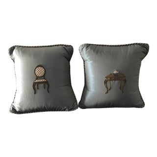 Pierre Deux Silk Embroidered Pillows - a Pair