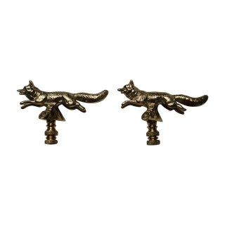 Solid Brass Fox Finials - a Pair