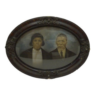 "Vintage Bubble Glass Framed Color Photograph ""Sophisticated Black Couple"", 1920"