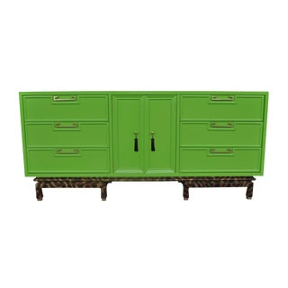 America of Martinsville Chinoiserie Style Green & Tortoise Dresser