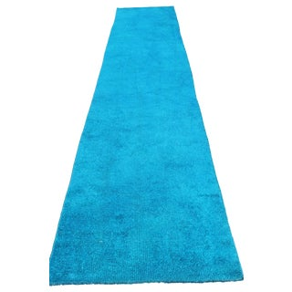 Oushak Over-Dyed Turquoise Runner - 2′5″ × 13′4″