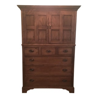 Contemporary Pine Armoire Entertainment Cabinet