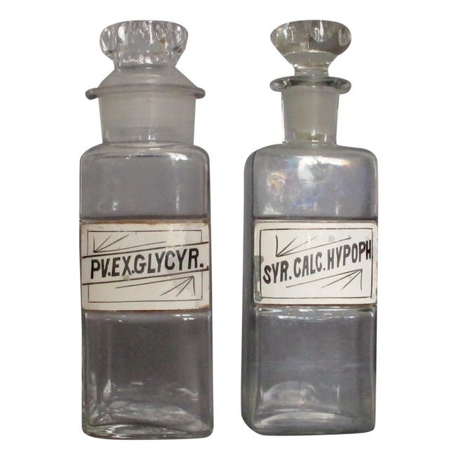 Labeled Glass Apothecary Bottles - A Pair - Image 1 of 9