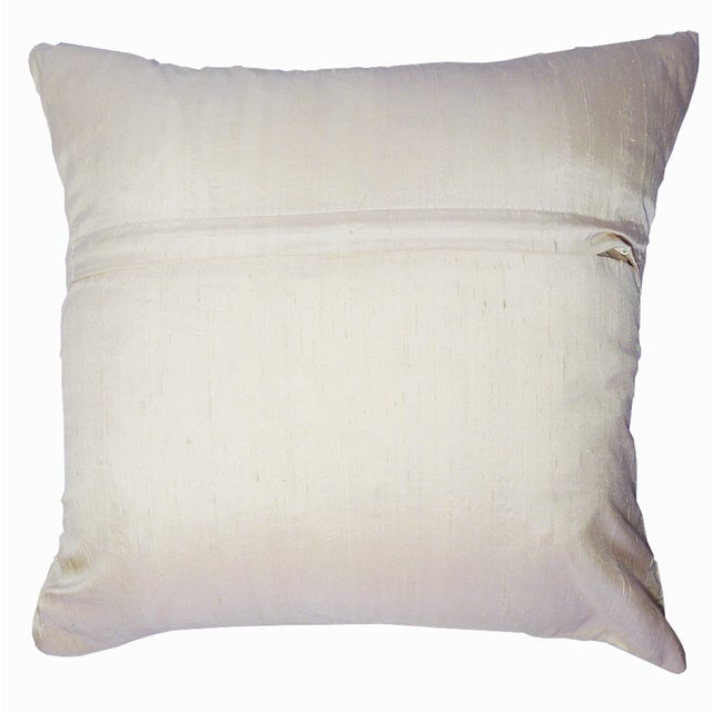 Embroidered Ivory Beaded Silk Pillow - Image 3 of 3